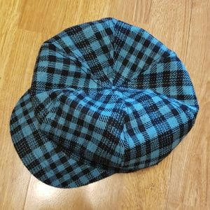 Teal and black plaid newsboy cap